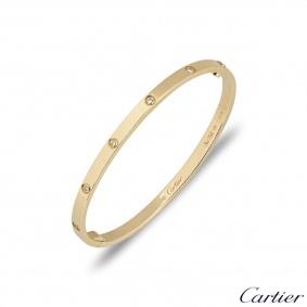 Cartier Yellow Gold Full Diamond Love Bracelet SM Size 17 B6047817
